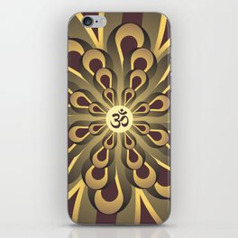 Om Mandala, Purple and Gold Fractal, Spiritual Gift, Yoga Lifestyle iPhone Skin