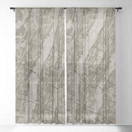 Warm Putty Beige Decor, Manhattan New York City, Antique Vintage Map Sheer Curtain