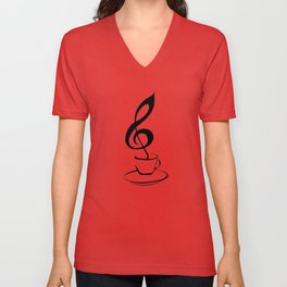 Music and coffee Unisex V-Neck