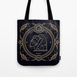 Aquarius Zodiac Golden White on Black Background Tote Bag