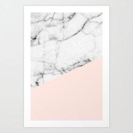 Real White marble Half Salmon Pink Art Print