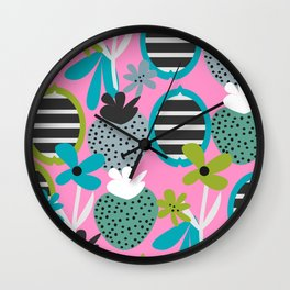 Summer mix in pink and blue Wall Clock