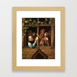 """Jan Steen """"Rhetoricians at a Window"""" Framed Art Print"""