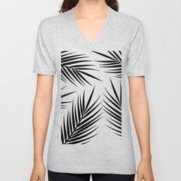 Black palm leaves minimal Unisex V-Neck