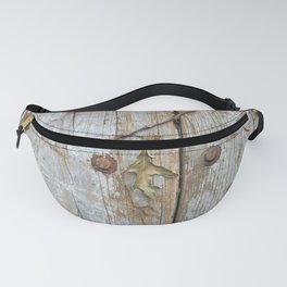 Oak Leaf on Vintage Planks with Rusty Bolts Fanny Pack
