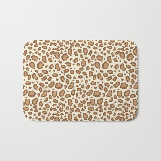 Leopard spots animal pattern print minimal basic home decor safari animals Bath Mat
