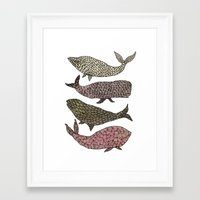 whales Framed Art Prints featuring Whales by Saara Kaa