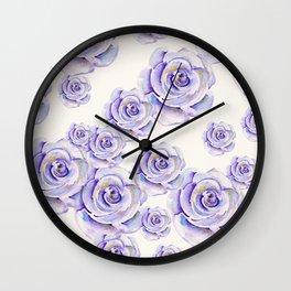 Puple Rose Painting Wall Clock