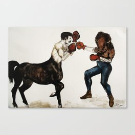 Centaur boxing Buffalo or Bison Canvas Print