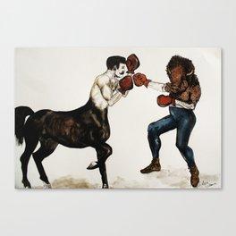 Centaur boxing Buffalo or Bison Canvas Print