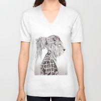 reggae V-neck T-shirts featuring Reggae Lion by SABIN.M