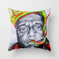 biggie smalls Throw Pillows featuring Biggie Smalls by Liam Reading