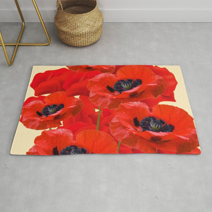 Red Oriental Poppies On Cream Color Rug