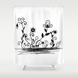 B&W floral Shower Curtain