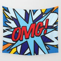 comic book Wall Tapestries featuring Comic Book OMG! by The Image Zone
