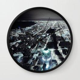 Cityscape II - City Horizon Skyline Chicago Nightlife Contemporary Decor Metropolis  Wall Clock