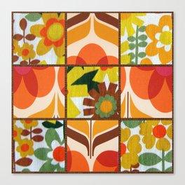 Retro floral patchwork Canvas Print
