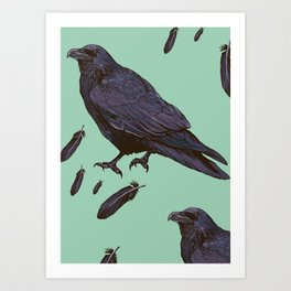 Mint Raven Art Print