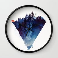 fox Wall Clocks featuring Near to the edge by Robert Farkas