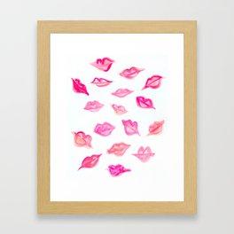 Lips Watercolor Pattern Framed Art Print