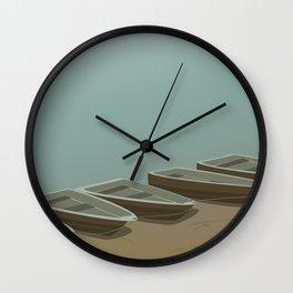 Boats on the shore Wall Clock