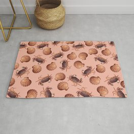 scallop Crab pattern design coral Rug
