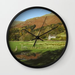 Cottage and flooded field. Grasmere, Lake District, UK. Wall Clock