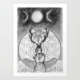 mother of crystals/ earth queen Art Print