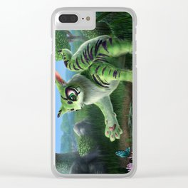 Fluffy Green Cat-Like Creature Clear iPhone Case