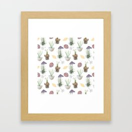 Mushrooms, spurge, horsetail, lily of the valley, leaves. Framed Art Print