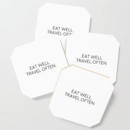 Eat Well Travel Often, Eat Quote, Travel Art Coaster