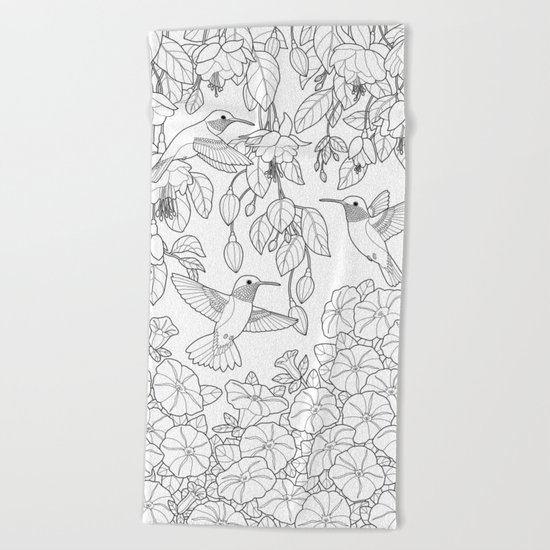 Hummingbirds and Flowers Coloring Page Beach Towel