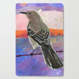 Mockingbird on a Wire Fence In The Sunset Watercolor Art Cutting Board