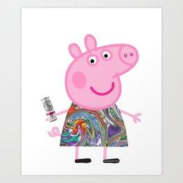 Peppa Pig White Claw Art Print
