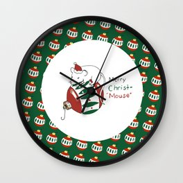 Merry Christmas Mouse Wall Clock
