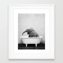 Baby Elephant Taking A Bath Framed Art Print