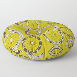 bike wheels chartreuse Floor Pillow