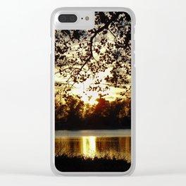 Kansas Golden Sunset Reflection Clear iPhone Case