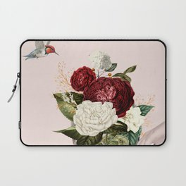 Collage of lady with flowers Laptop Sleeve
