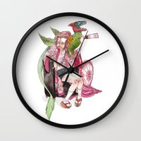 bouletcorp Wall Clocks featuring Geisha Rose by Bouletcorp
