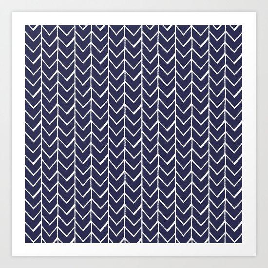Herringbone Blue And White Art Print