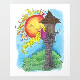 Rapunzel in her Tower Art Print