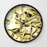 gold foil Wall Clocks featuring Gold foil by lamottedesign
