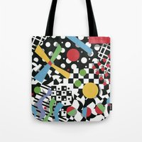 tape Tote Bags featuring Ticker Tape by Patricia Shea Designs