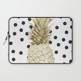 Gold Pineapple on Black and White Polka Dots Laptop Sleeve
