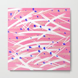 Pink Background, White Strokes, Bright Navy Dots, Peach squiggles Metal Print