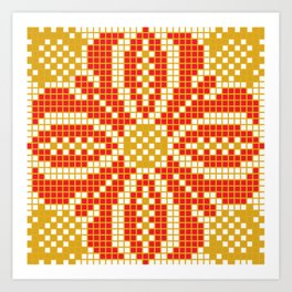 Red & Gold Flower Art Print