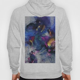 Contemporary Abstract Art in Blue and Yellow Hoody