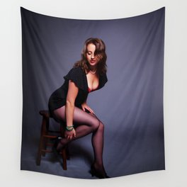 """""""Girl's Got Gams"""" - The Playful Pinup - Coy Pin-up Girl by Maxwell H. Johnson Wall Tapestry"""