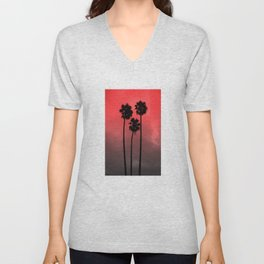 Red Fade Palm Trees Unisex V-Neck